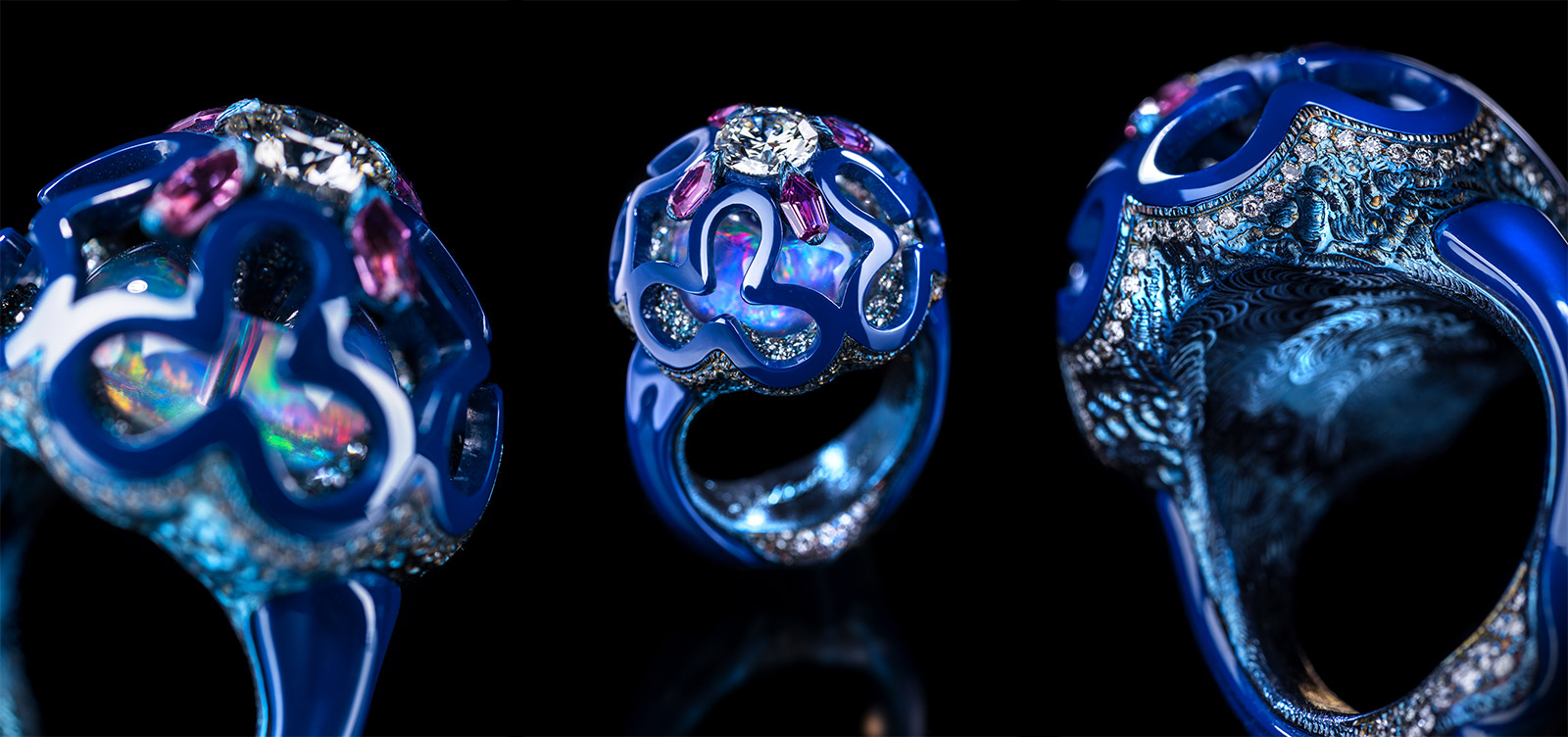 Wallace Chan 'Dream Planet' ring with diamond, crystal, lapis lazuli, opal and pink sapphire in titanium and Wallace Chan Porcelain