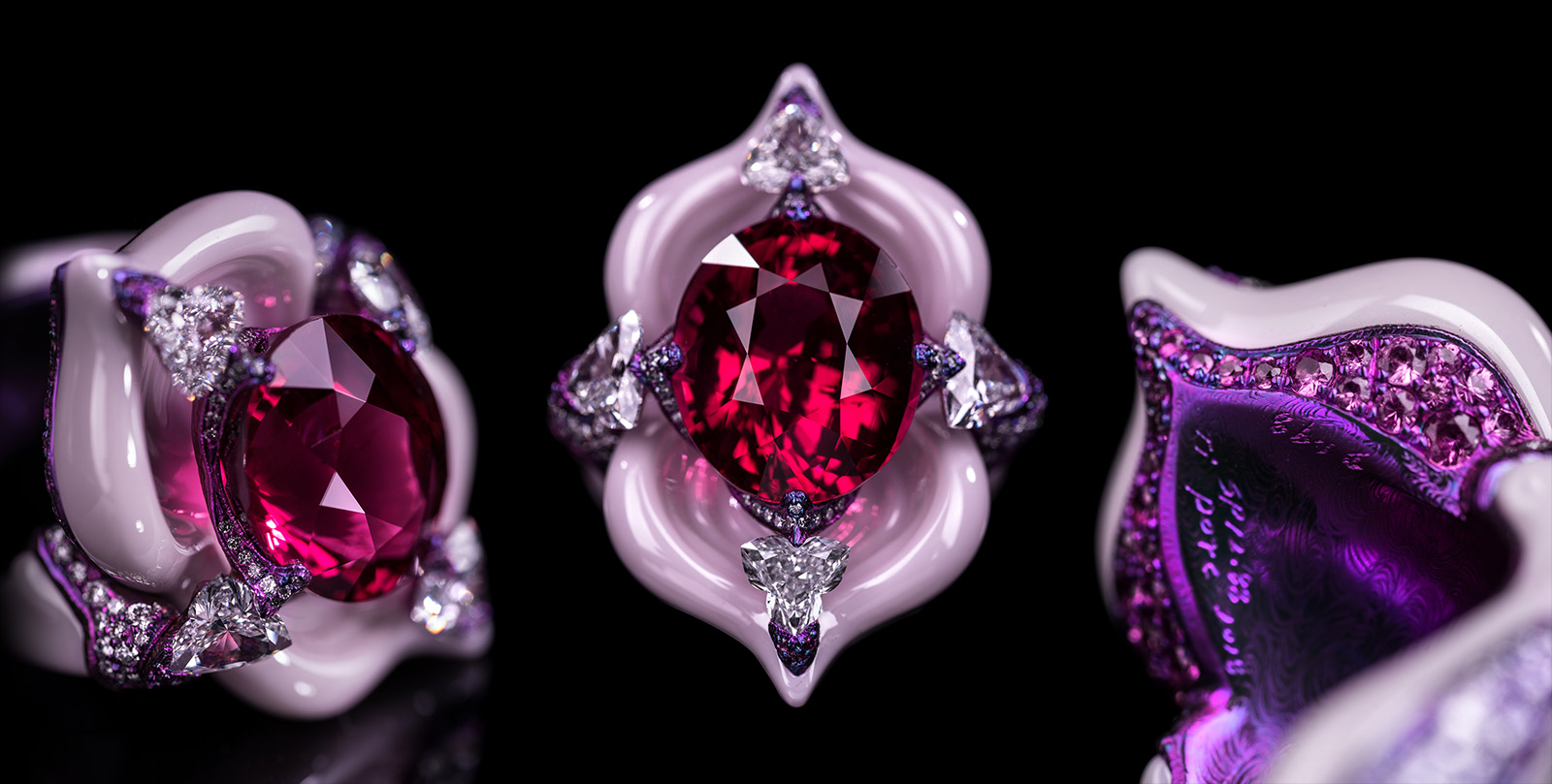 Wallace Chan 'Starlight Ballet' ring with 12.88ct spinel, diamond and pink sapphire in titanium and Wallace Chan Porcelain