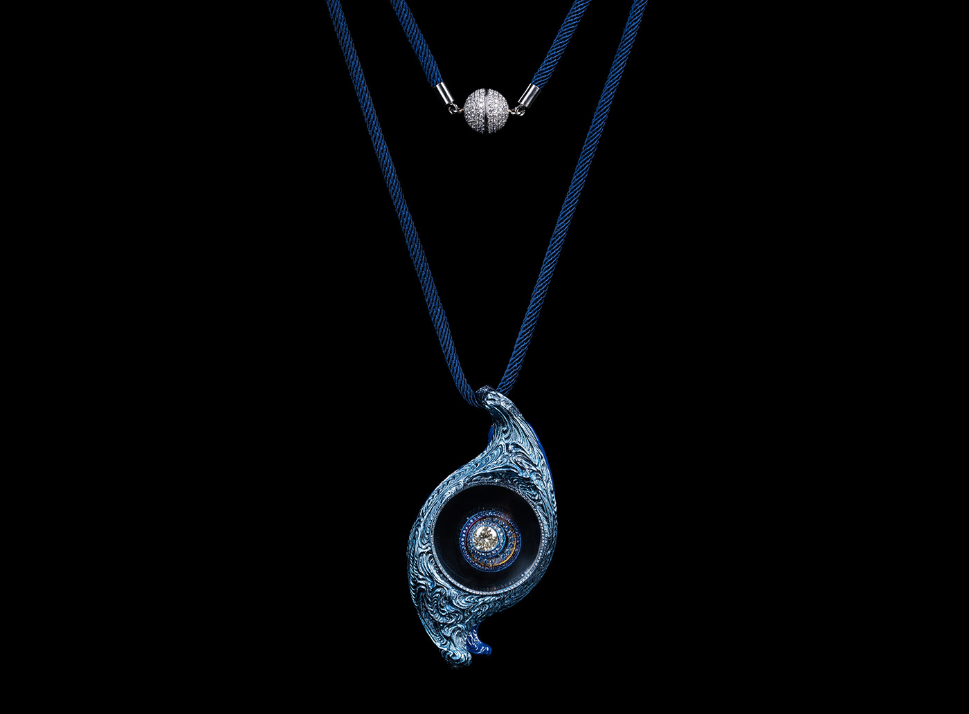 Wallace Chan 'Eye of Time' pendant with 1.06ct fancy yellow diamond, sapphire and diamond in 18K white gold, lens, titanium and Wallace Chan Porcelain