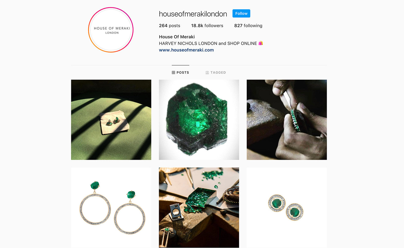 Аккаунт House of Meraki в Instagram