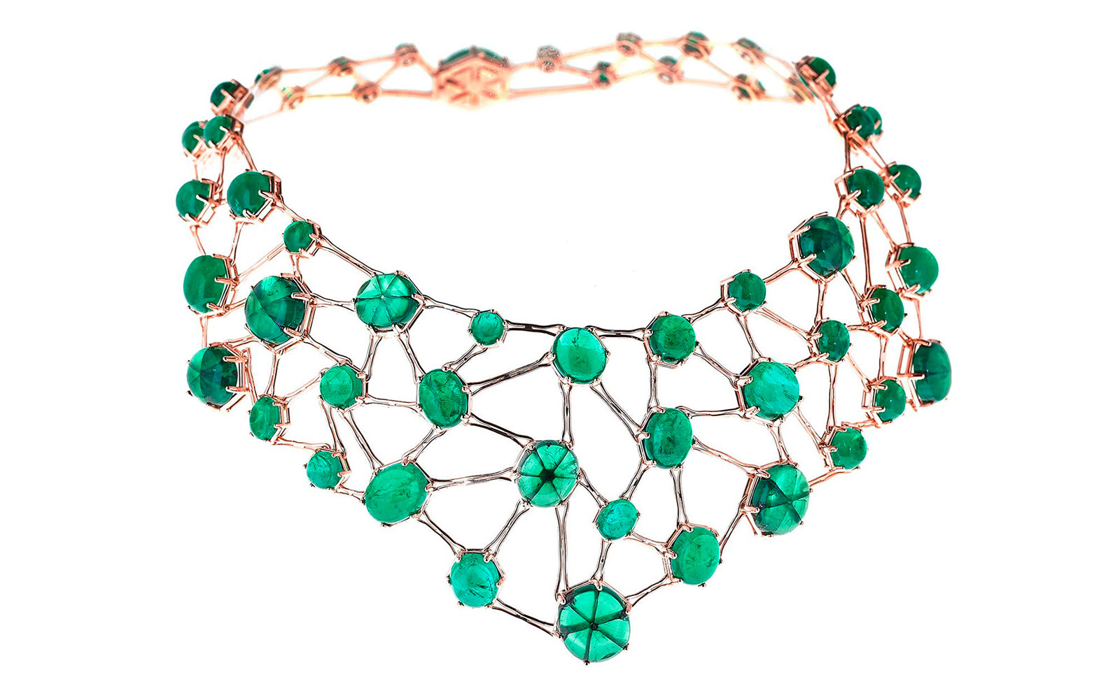 Selim Mouzannar 'Amal' necklace from the 'Transparency' collection with trapiche emeralds and emeralds in gold
