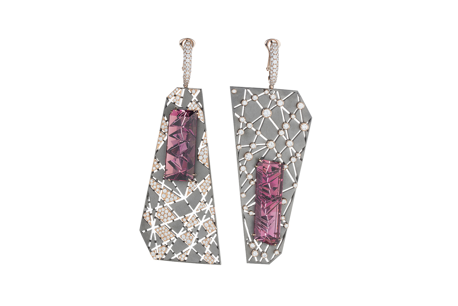 VMAR 'Orion &Auriga' earrings with fancy cut pink tourmalines of 17.50ct and 17.60ct, and diamonds in pink gold and titanium
