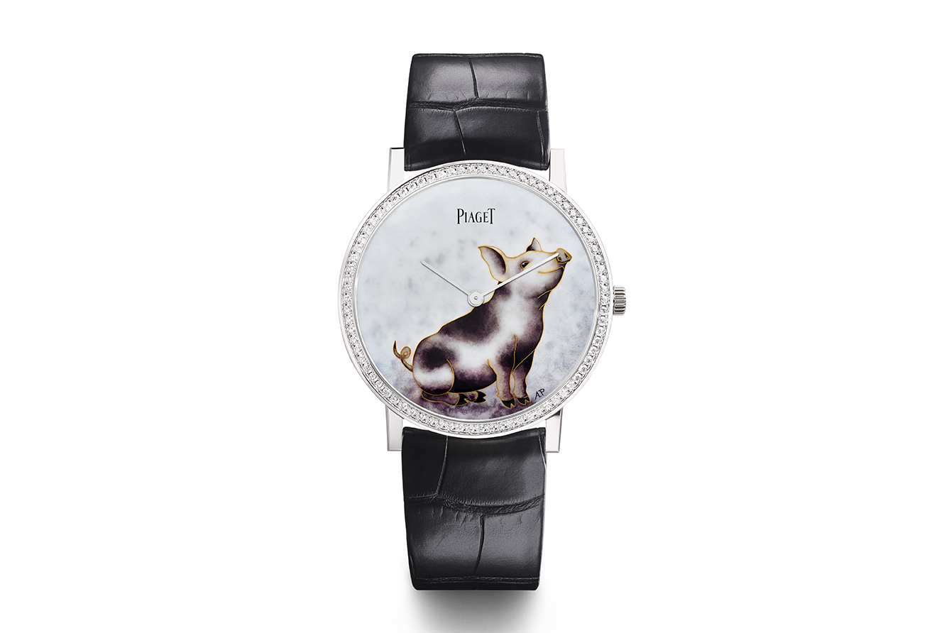 Piaget 'Altiplano' watch from the 'Possession' collection with cloisonné enamel by Anita Porchet and diamond bezel in white gold