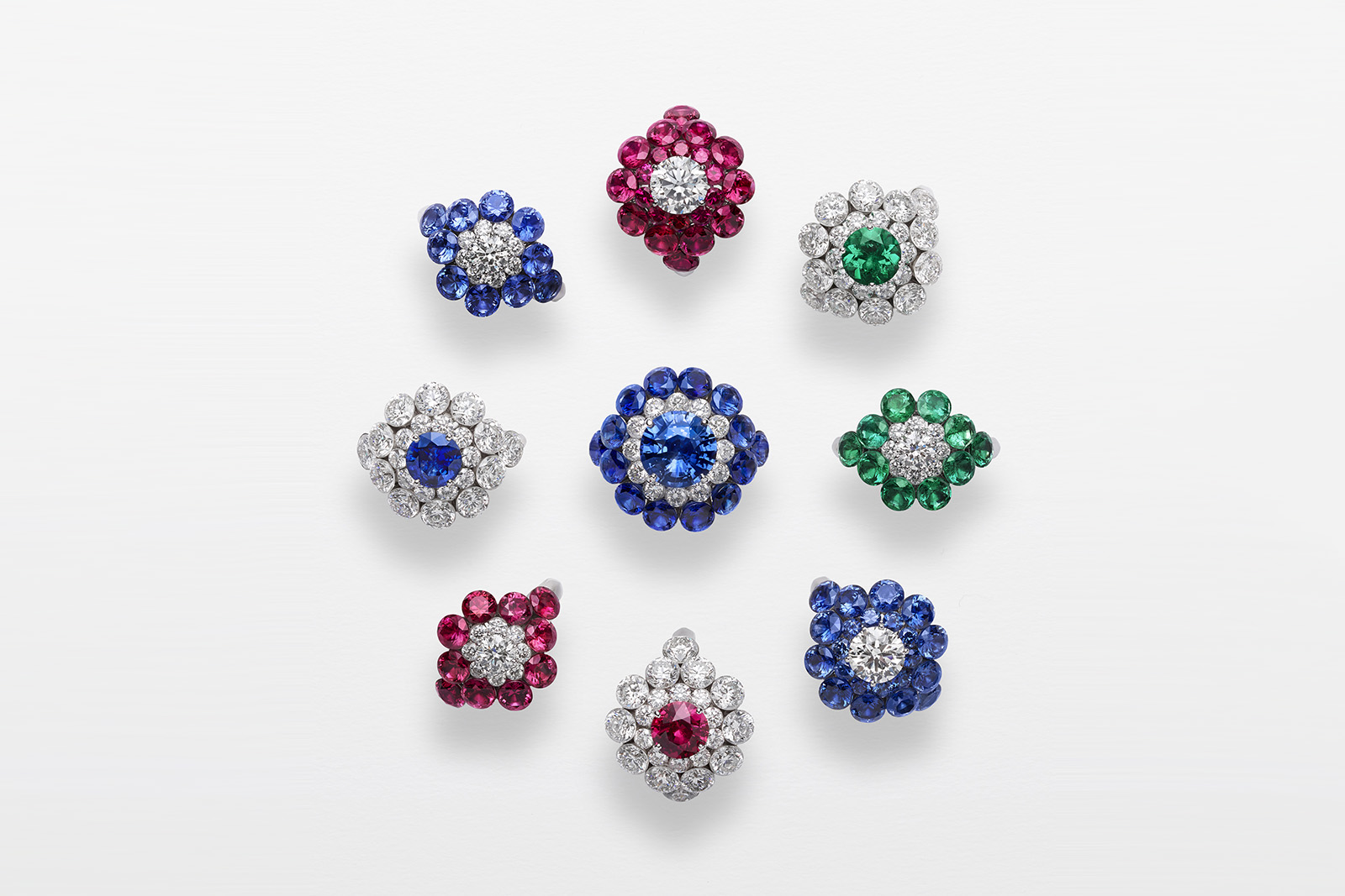 A selection of Chopard 'Magical Setting' rings in diamonds, sapphires, emeralds and rubies in 18k white gold