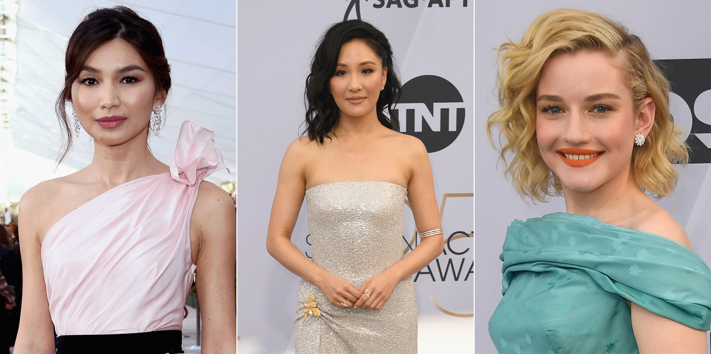 Gemma Chan, Constance Wu and Julia Garner wearing Harry Winston diamond jewellery at SAG awards