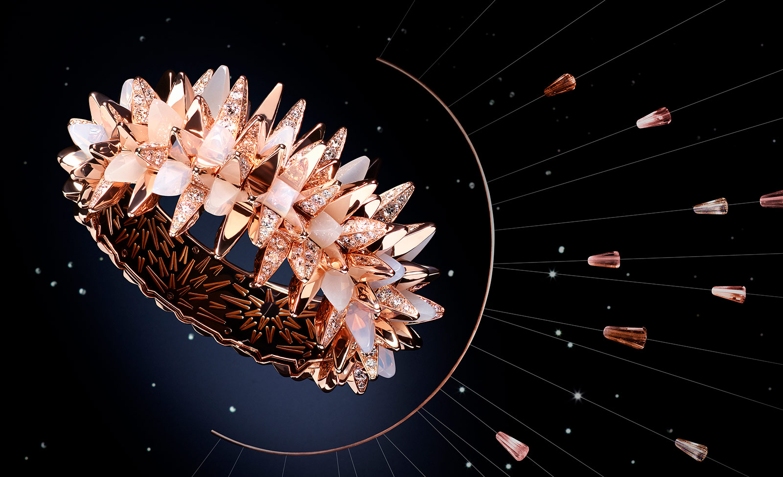 Cartier 'Fractal Meteor' bracelet from 'Les Galaxies de Cartier' collection with diamonds, moonstone and milky quartz in 18k rose gold