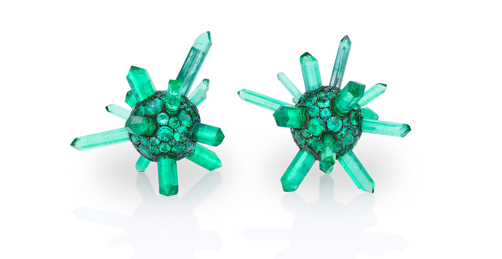 Theodoros earrings with 80ct Afghani emerald, and 22ct Colombian brilliant cut emerald pavé