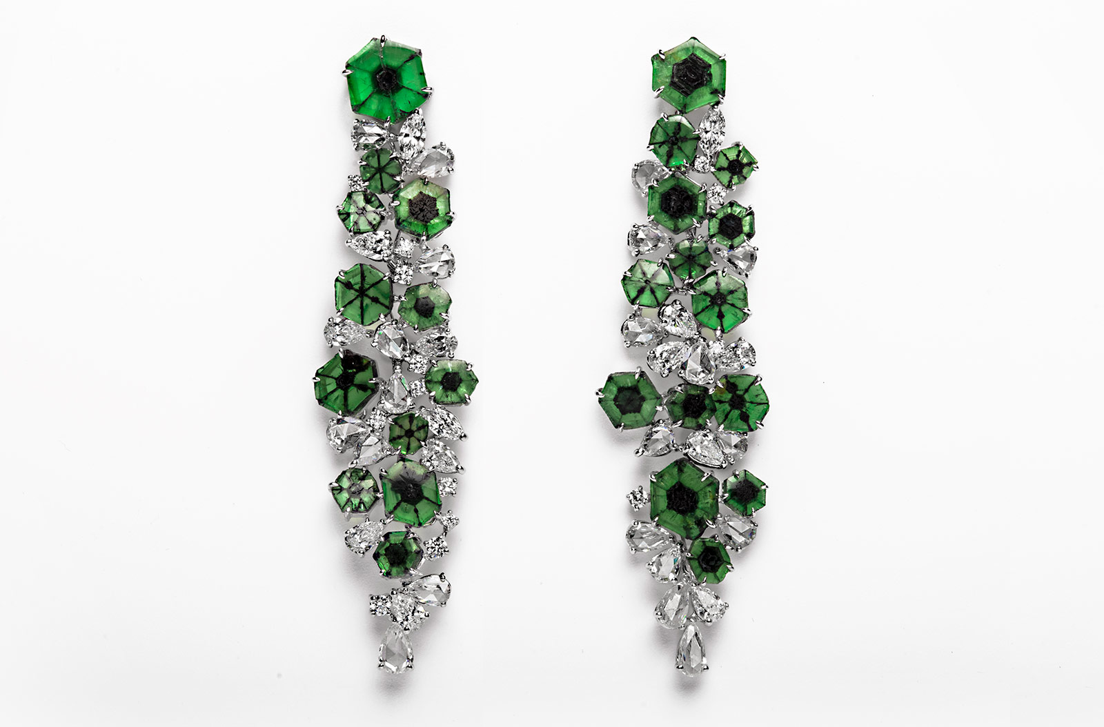 Qiu Fine Jewellery earrings from the 'Shanghai/Shanghai' collection with 21.21ct of trapiche emeralds and rose, marquise and pear cut diamonds