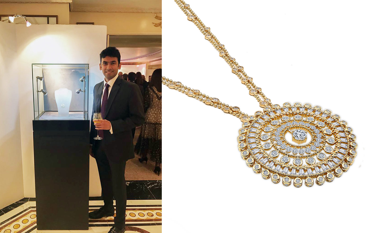 Harakh Mehta with the Harakh 'Sunlight' necklace with diamonds in yellow gold