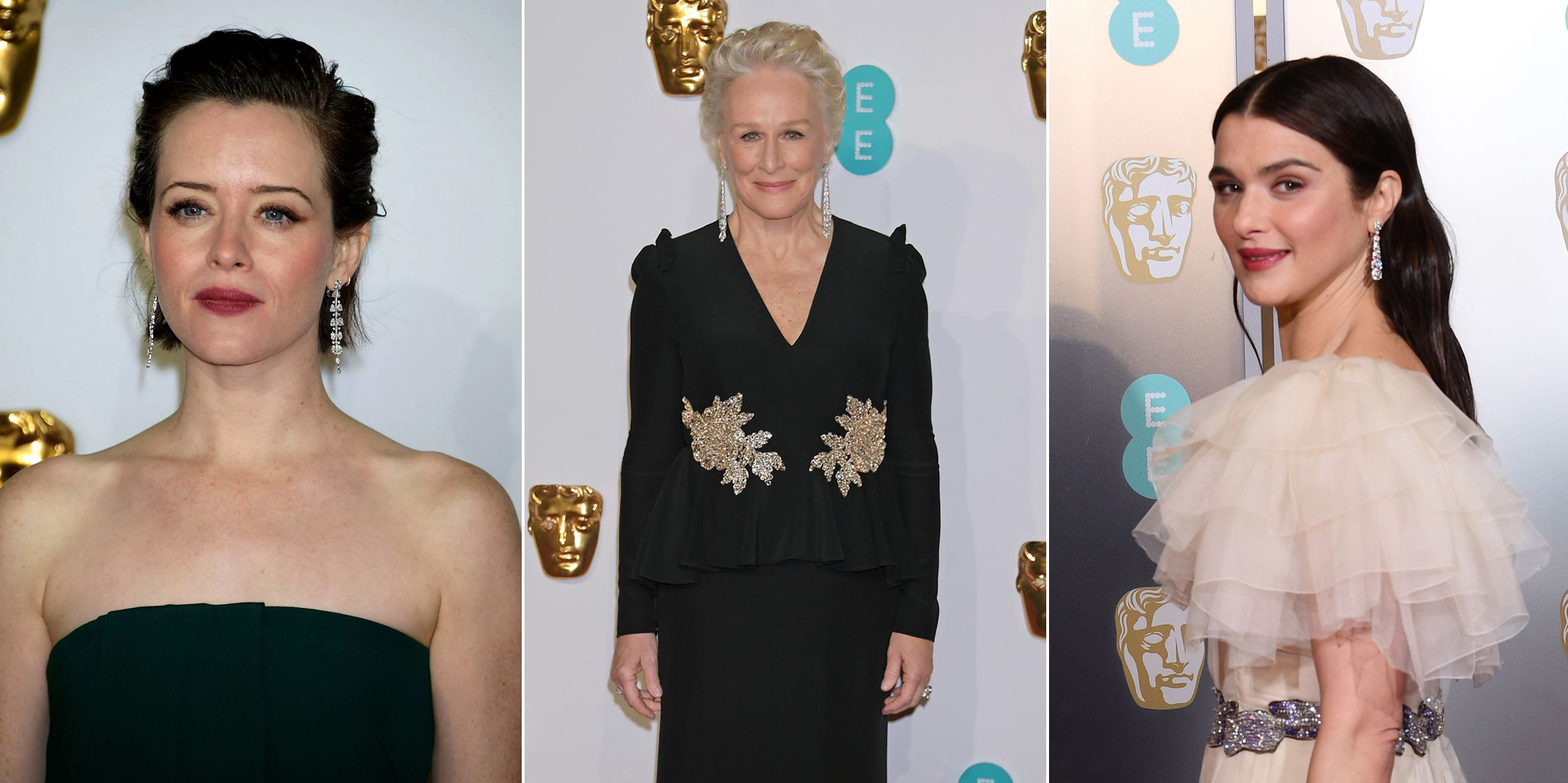 Claire Foy, Glenn Close and Rachel Weisz at the 2019 BAFTA awards all wearing Cartier High Jewellery drop earrings with diamonds
