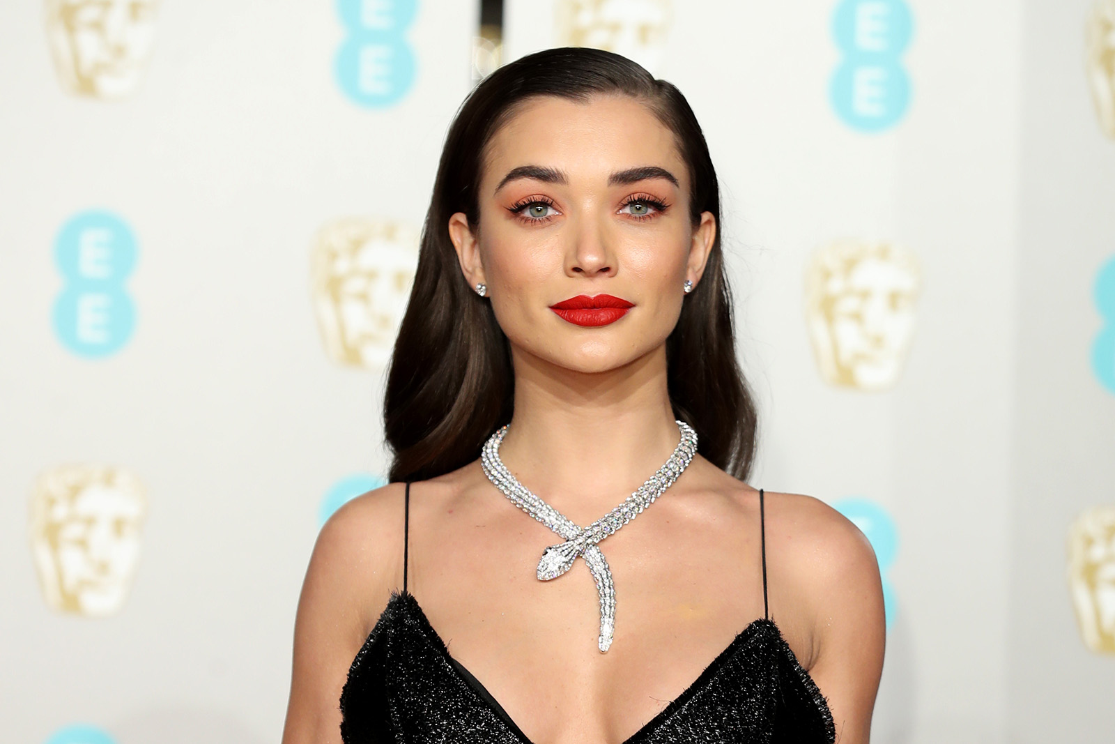 Amy Jackson at the 2019 BAFTA awards wearing Bulgari 'Serpenti' necklace with 74.78ct diamonds in white gold