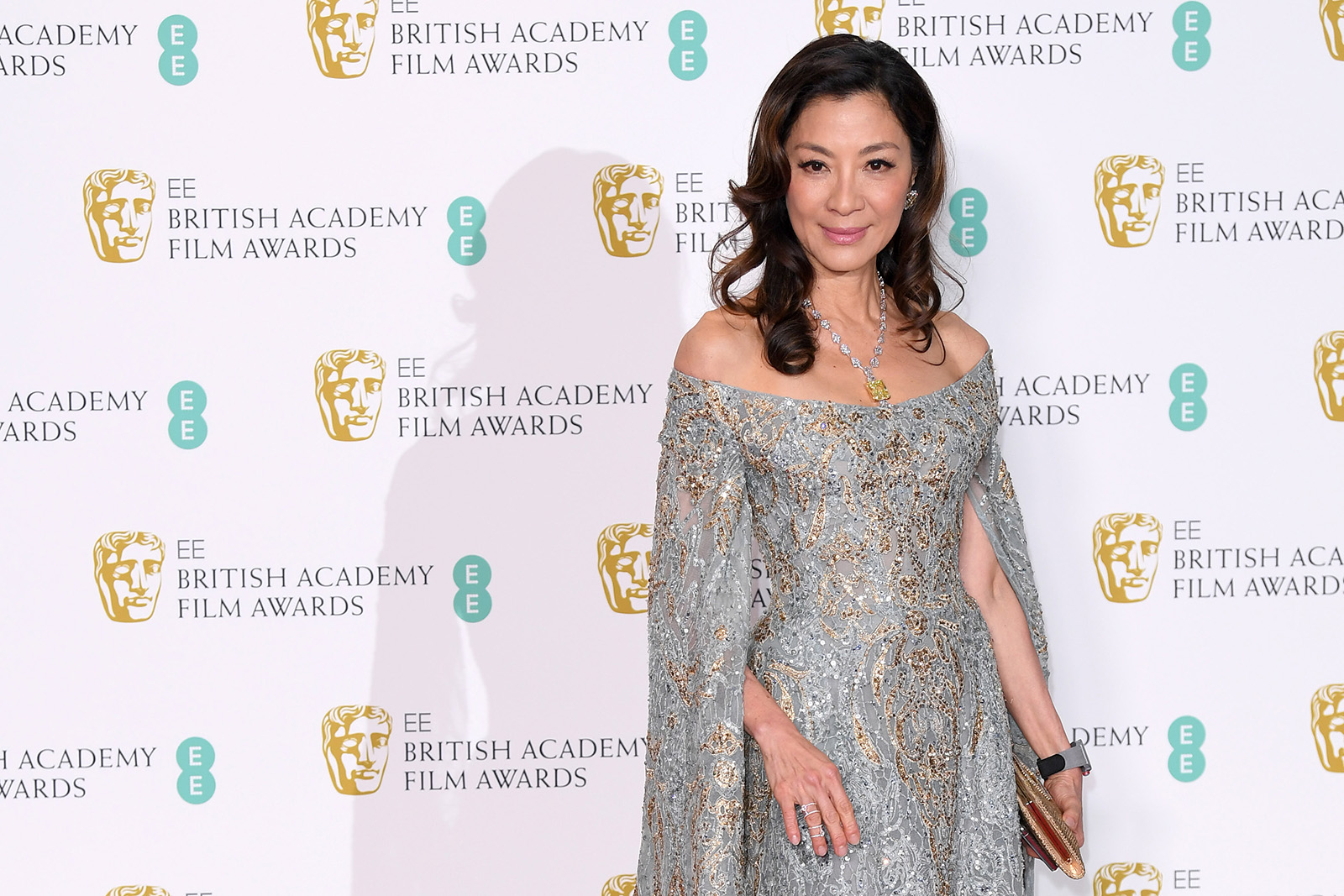 Michelle Yeoh at the 2019 BAFTA awards wearing Moussaieff necklace with 74ct natural fancy intense yellow diamond, and 80ct colourless diamonds, and earrings with 17ct natural fancy intense yellow diamonds, and 7 carats of colourless diamonds