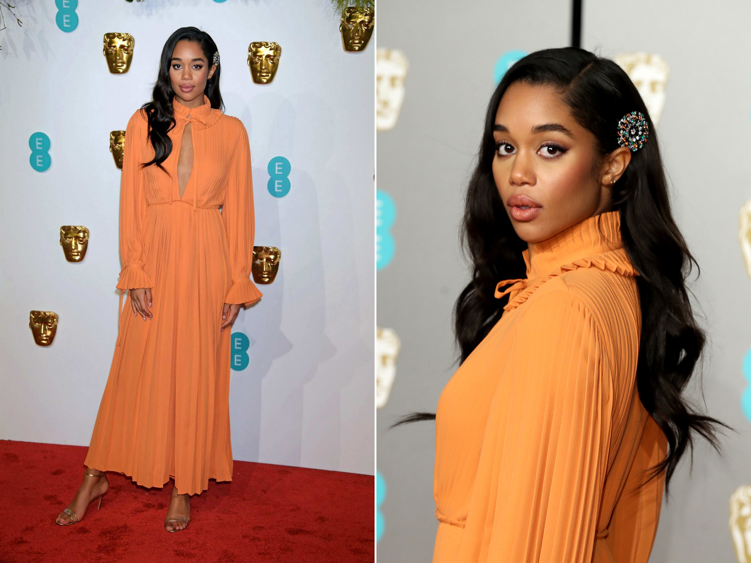 Laura Harrier at the 2019 BAFTA awards wearing a Bulgari high jewellery brooch as a hair accessory, with black onyx, emeralds and mandarin spessartite garnet