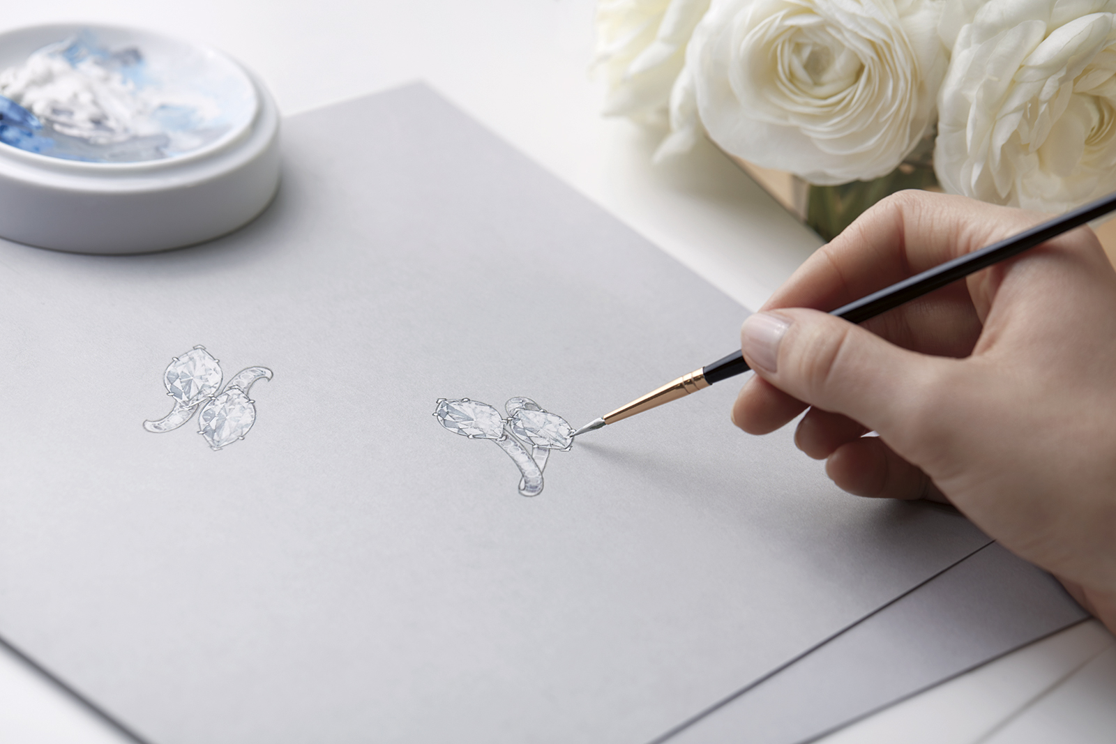 Rendering of Harry Winston 'Bridal Couture' toi et moi engagement ring with 1.51ct marquise cut diamonds in platinum