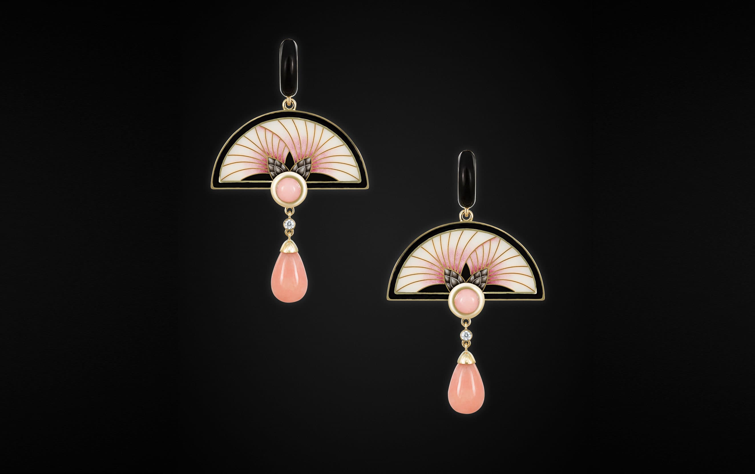 'Burdock' earrings by Ilgiz F. in art deco style embellished with hot enamel and pink opals