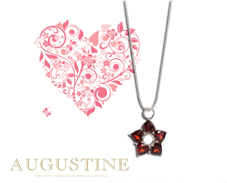 Augustine silver pendant with faceted garnet hearts