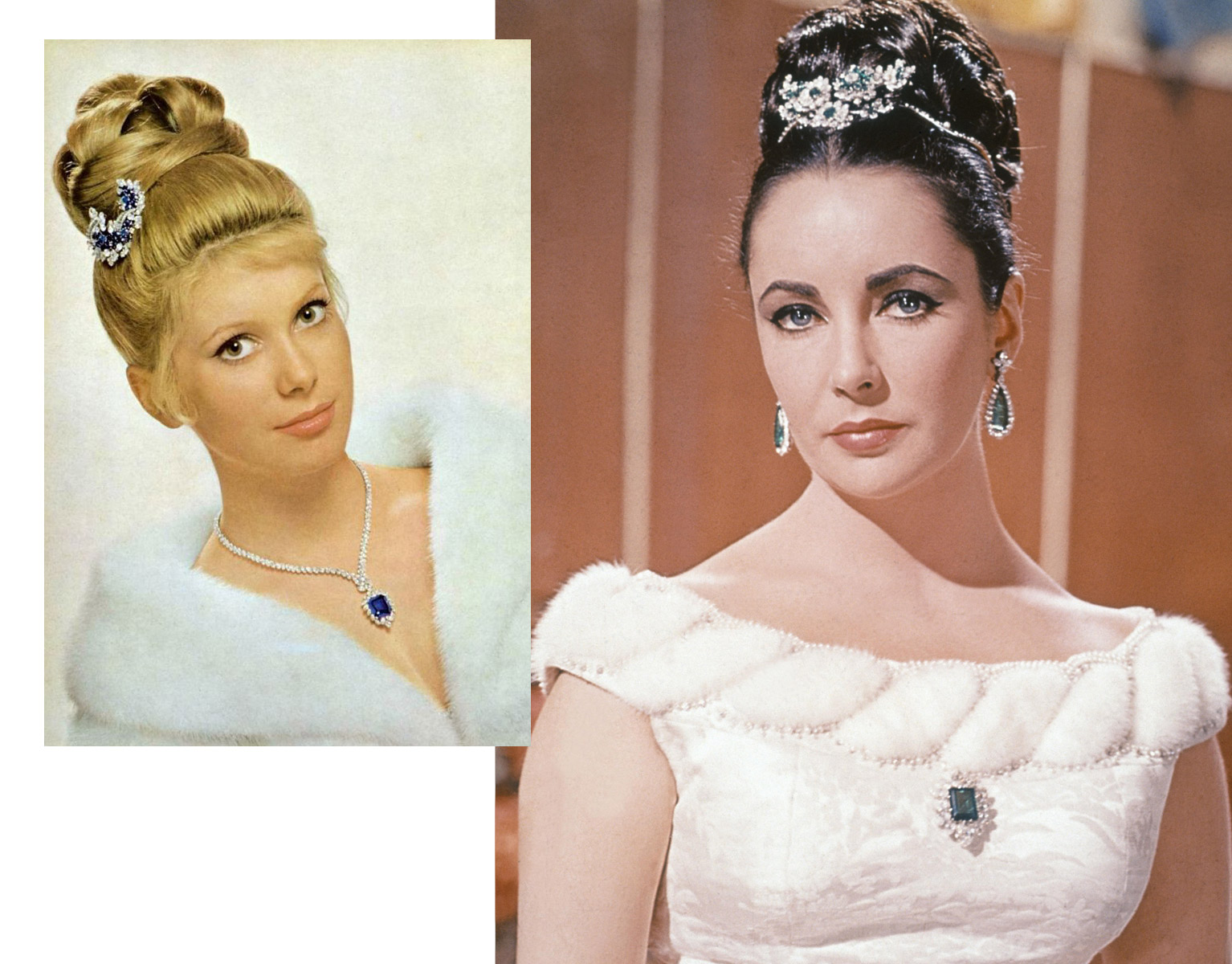 Catherine Deneuve on the left and Elizabeth Taylor on the right wearing brooches in their hair