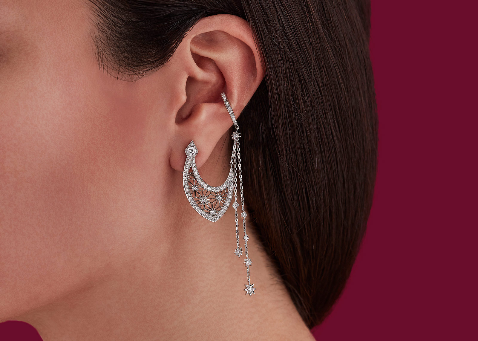 Garrard Filigree Chain hoop earrings with diamonds from Muse collection