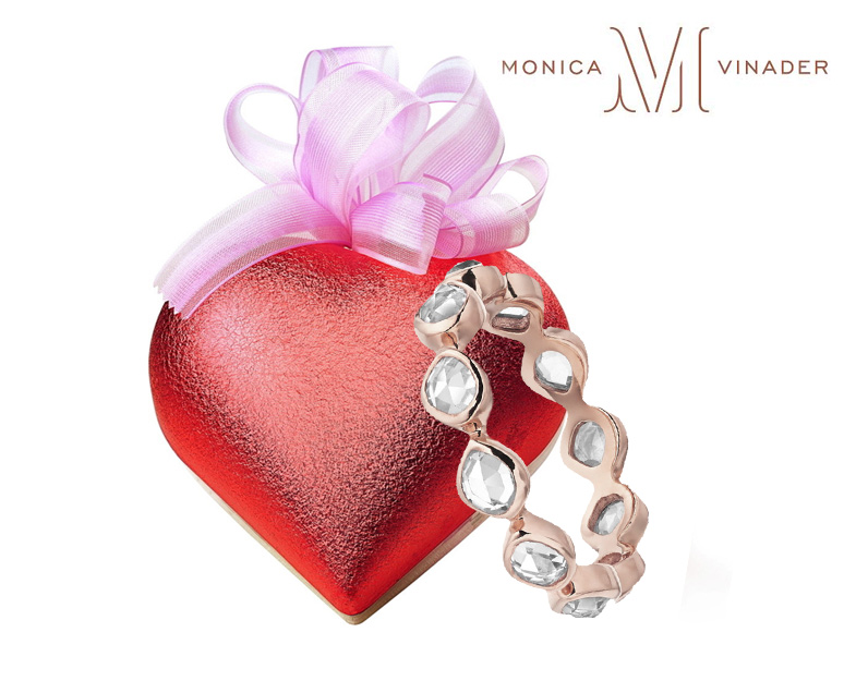 Monica Vinader eternity band in rose gold vermeil ring with rock crystal