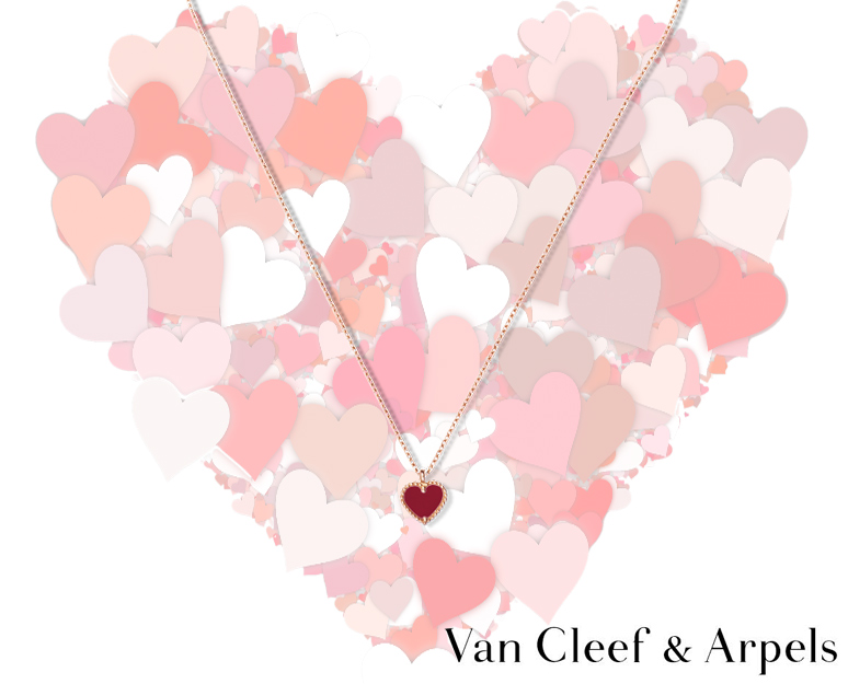 Van Cleef&Arpels Mini Alhambra pendant in rose gold with cornelian
