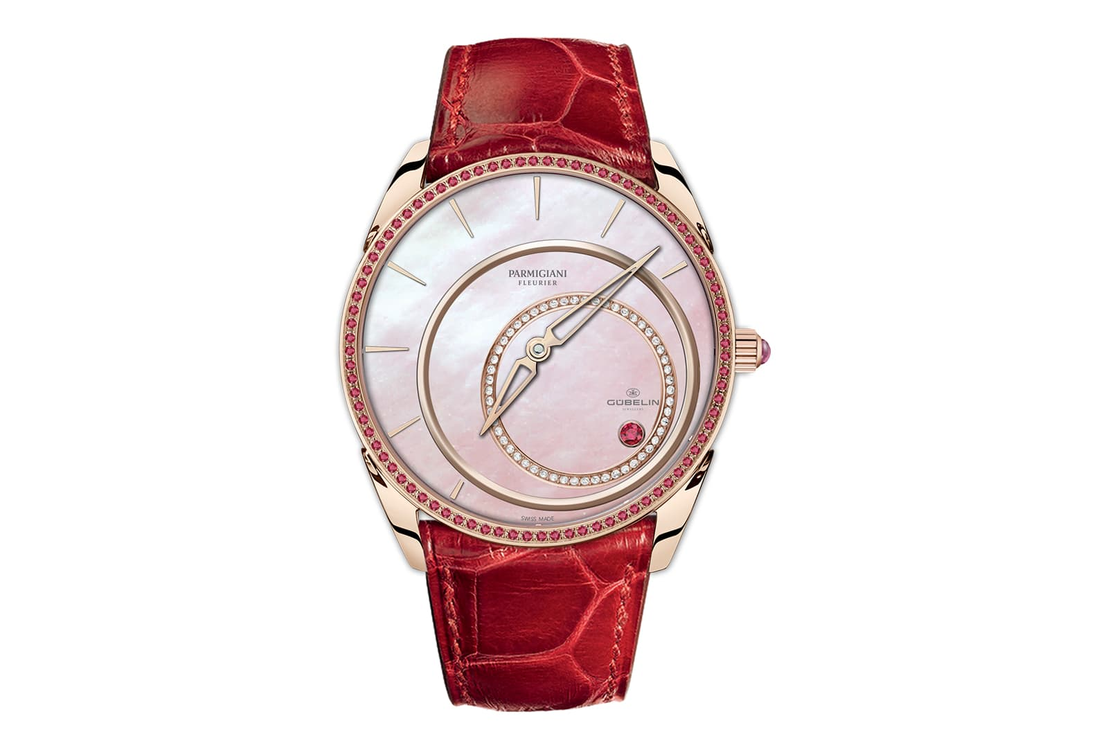 Parmigiani Fleurier timepiece with mother-of-pearl dial and red gold case paved with rubies