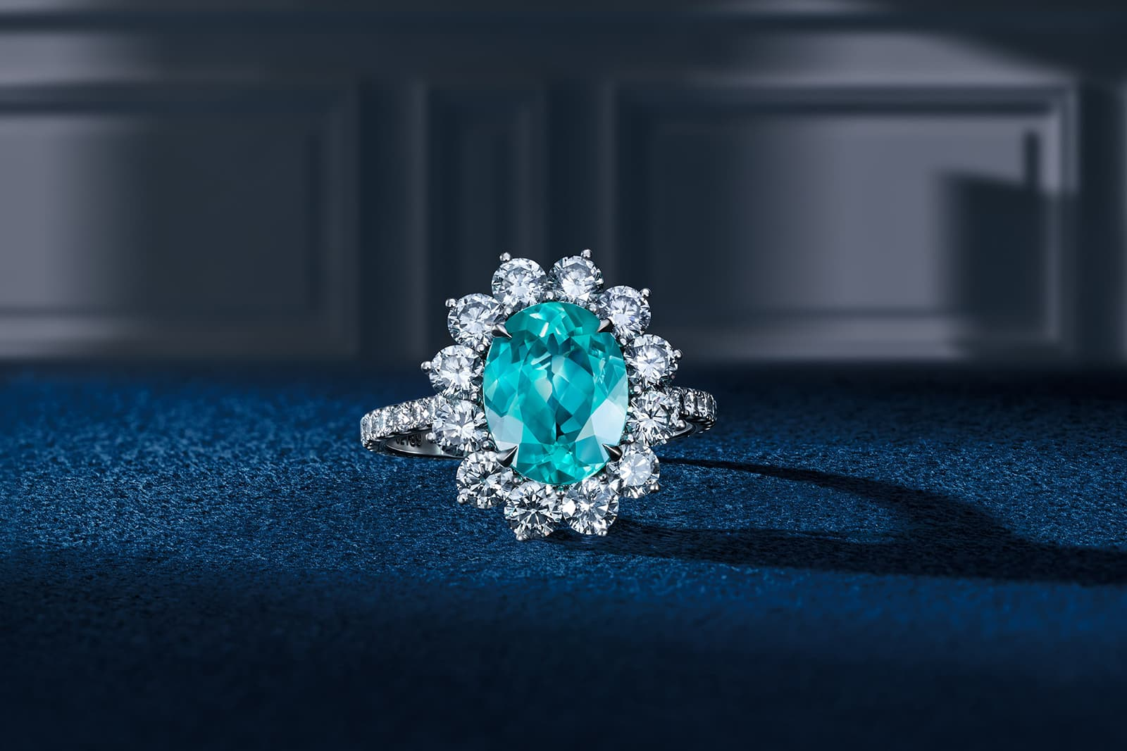 Darvol ring with oval Paraiba tourmaline and diamonds