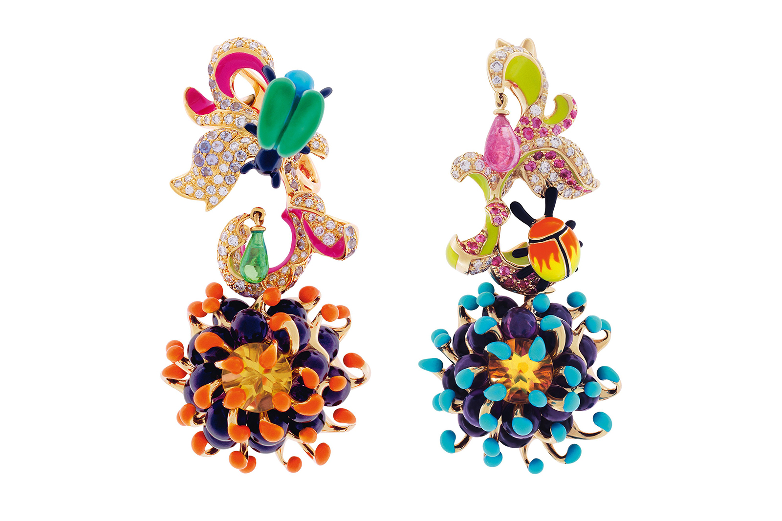 Dior 'Milly Carnivora Egratigna Angélique' earrings with lacquer, diamonds, sapphires, emerald and citrine in 18k yellow gold