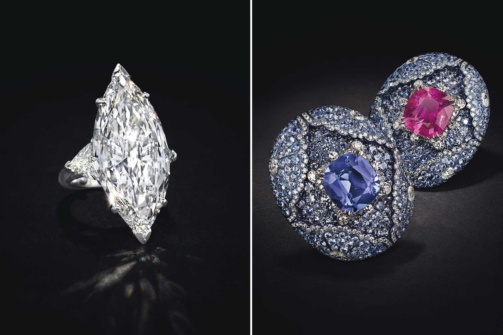 Left: 16.69 cts marquise cut D-colour diamond ring. Right: Carnet earrings with rubellites, tanzanites, sapphires and diamonds