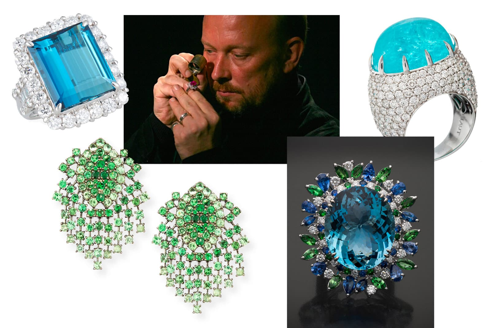 Alexander Laut and a selection of his gemstone-lead jewellery