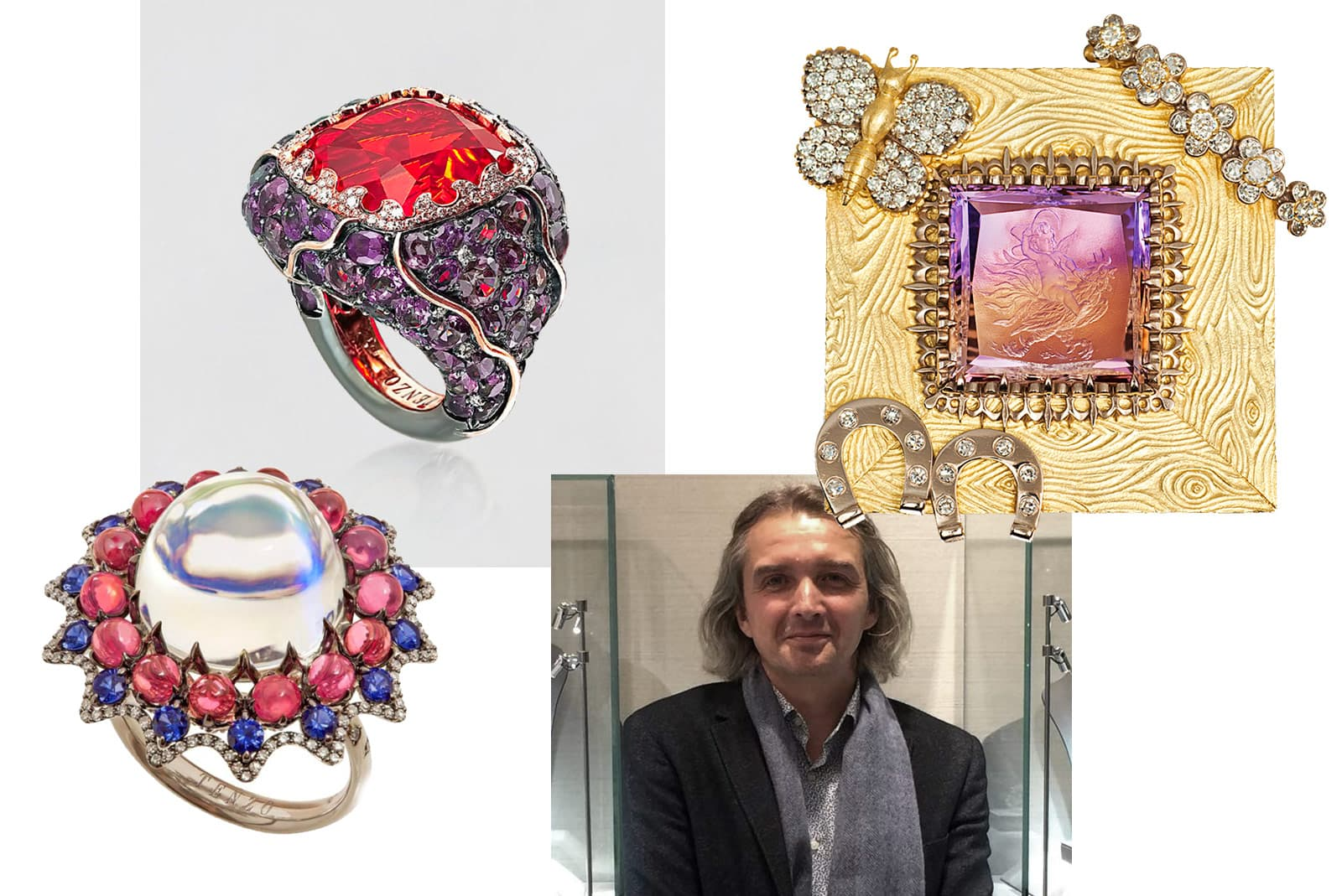 Alexander Tenzo and a selection of his jewellery