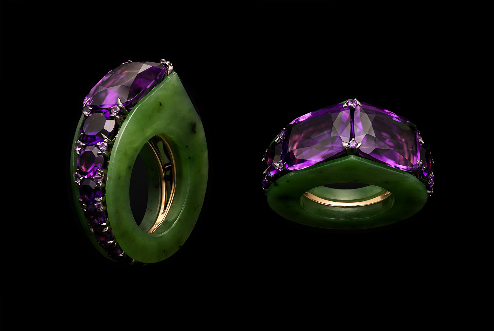 Ninotchka Russia nephrite and amethyst ring