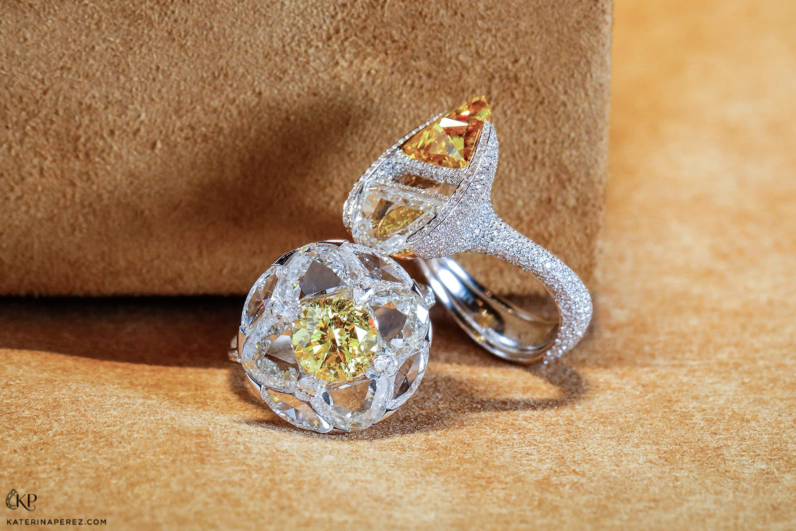 FORMS jewellery rings with custom cut colourless and fancy yellow diamonds