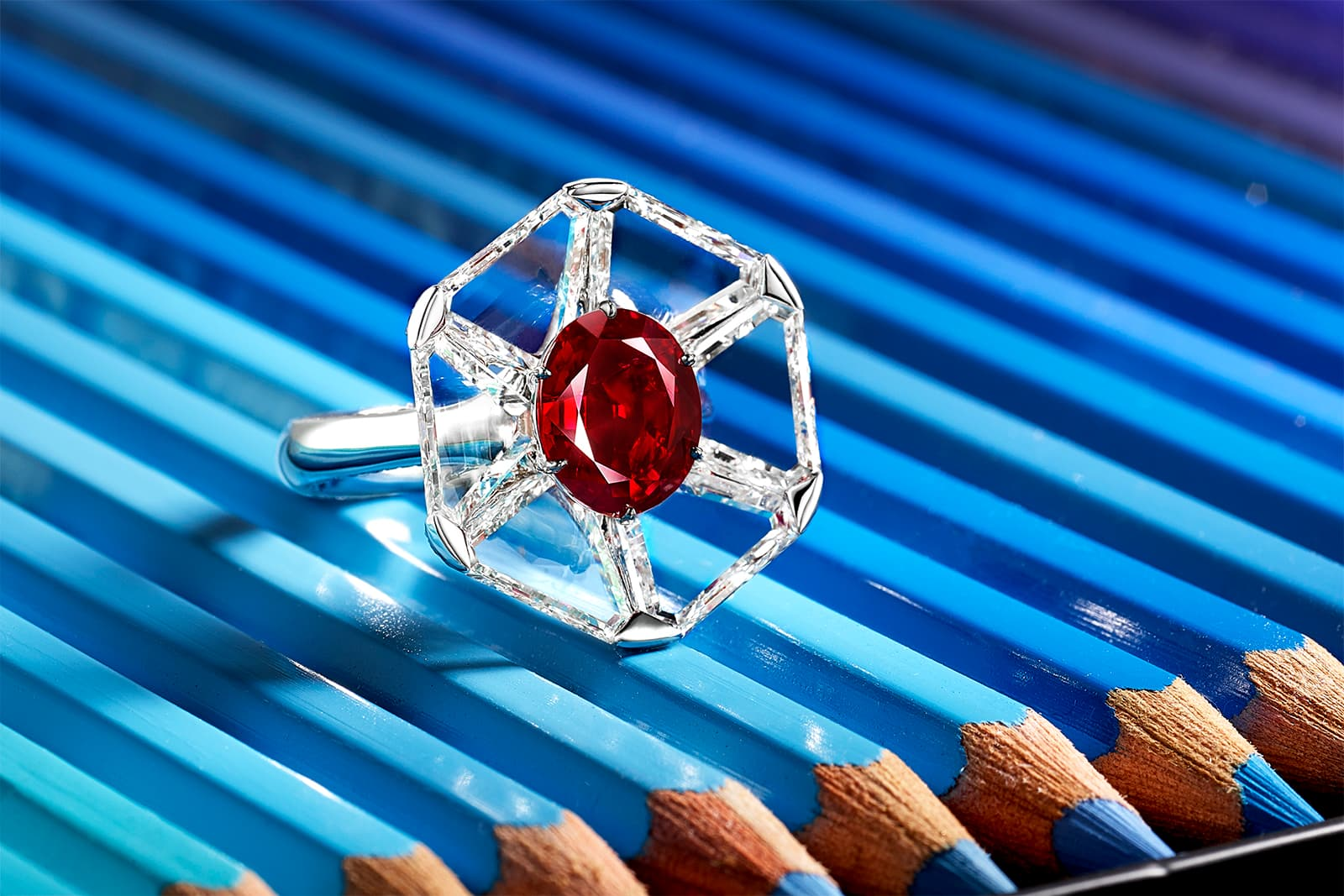 FORMS jewellery ring with pigeon blood Burmese ruby and triangular shaped diamonds
