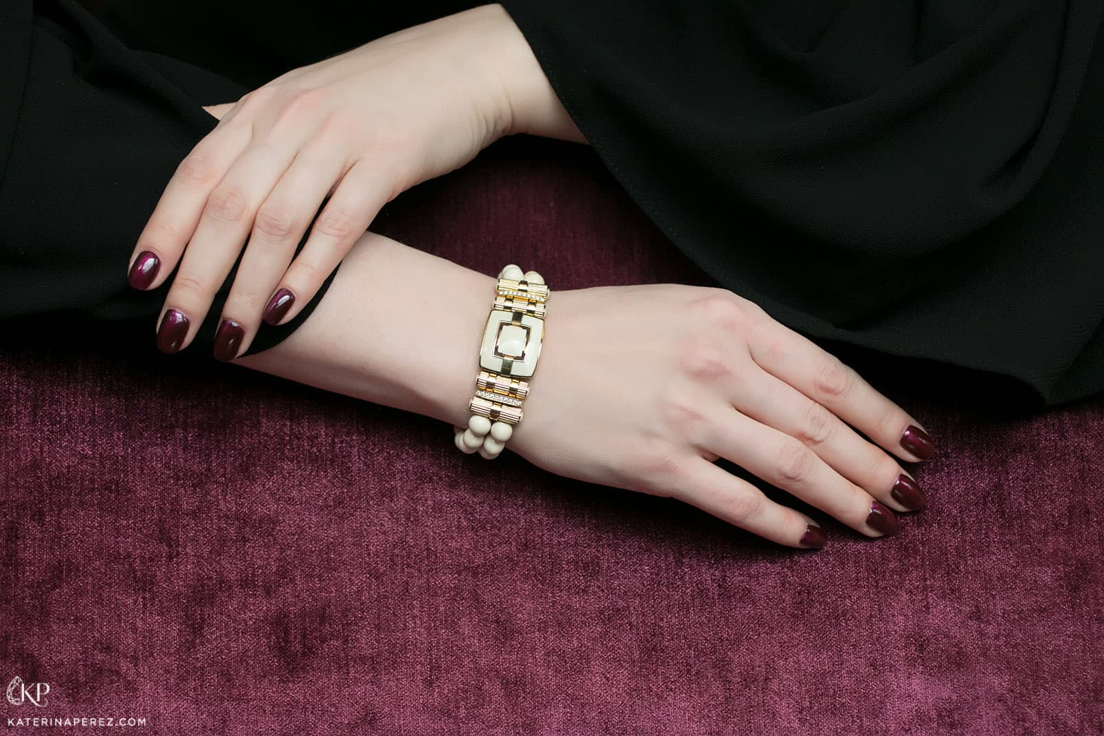 Notivory for ICHIEN bracelet with diamonds, mammoth tusk and yellow gold