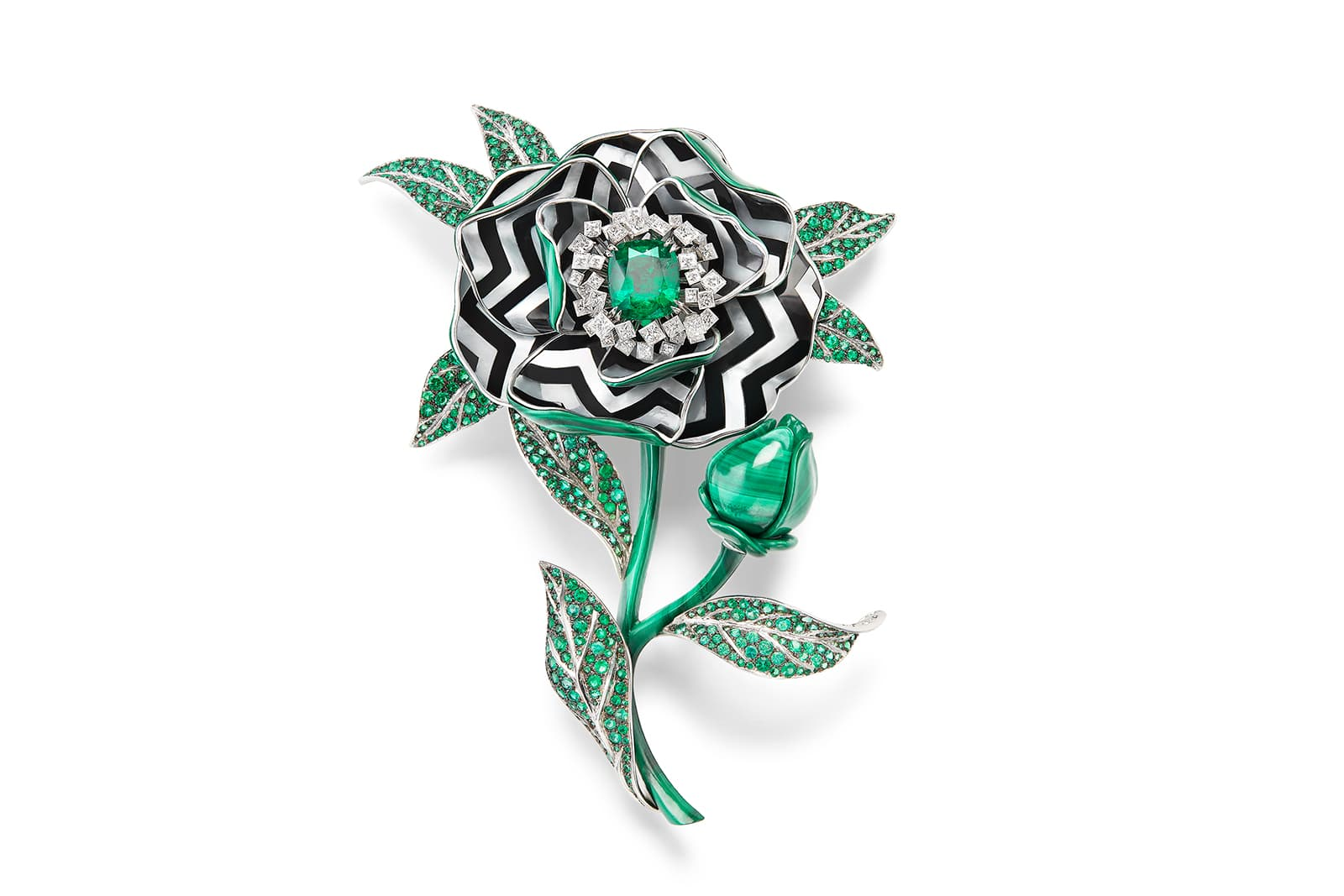 Boucheron 'Nature Triomphante' transformable brooch with malachite, Colombian emerald, emeralds, diamonds, mother-of-pearl and lacquer in white gold