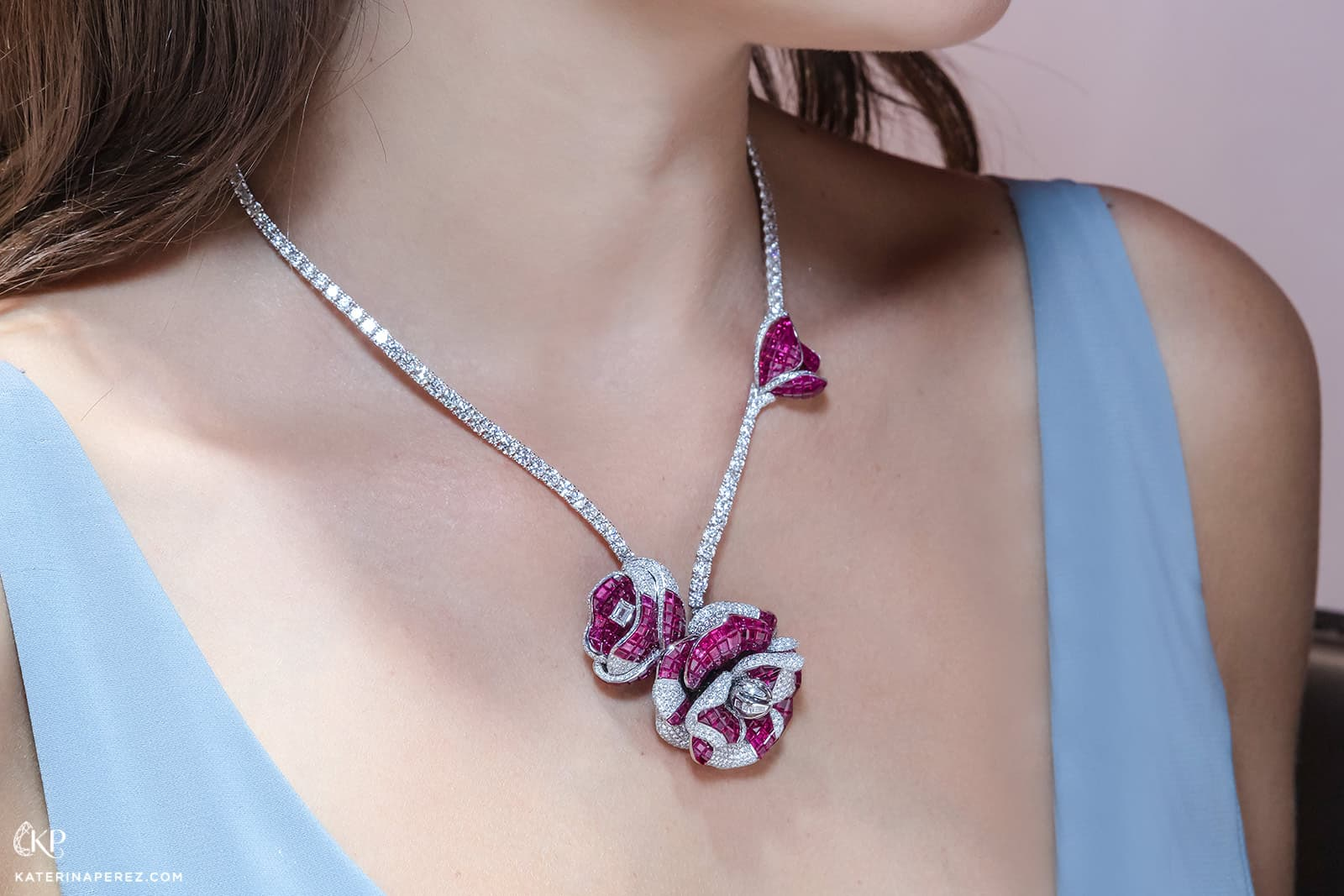 Stenzhorn high jewellery flower necklace with invisible set rubies and diamonds