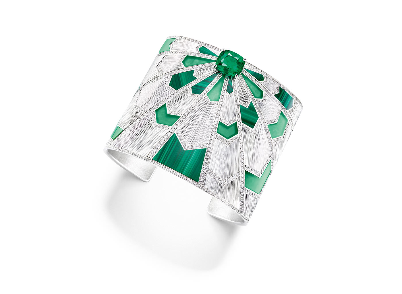 Piaget 'Sunlight Journey' cuff bracelet with malachite, emerald and diamonds in white gold