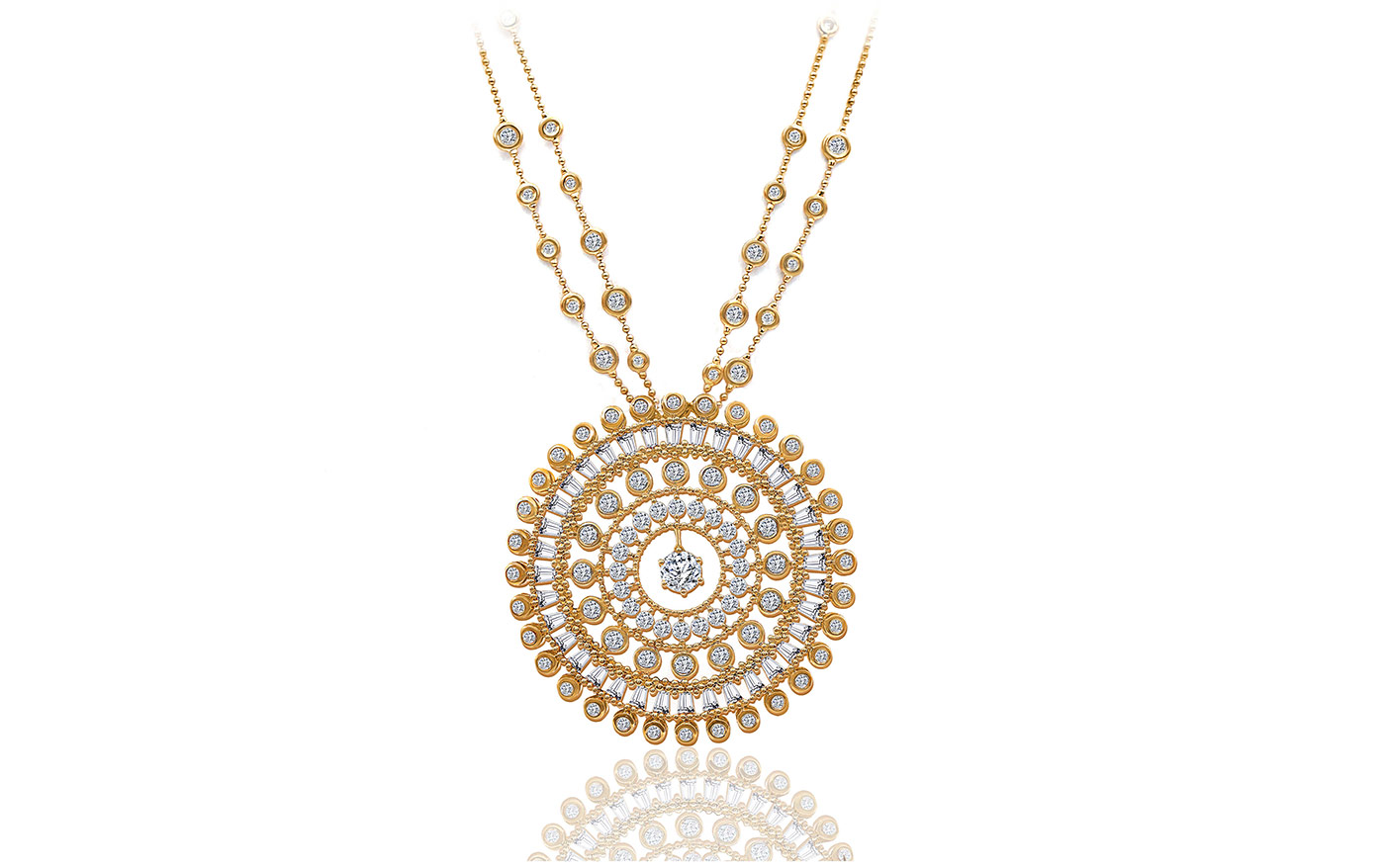 Harakh Harakh 'Sunlight' necklace with diamonds in yellow gold