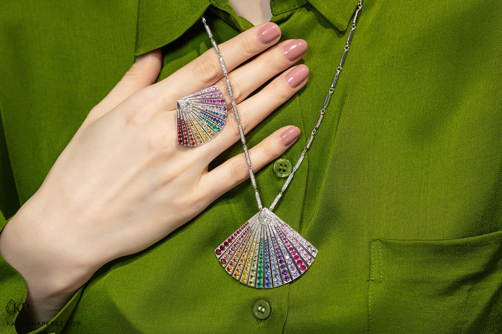 Maison Tabbah 'Wonders' ring and sautoir necklace with diamonds and multi-gemstone embellishment in gold