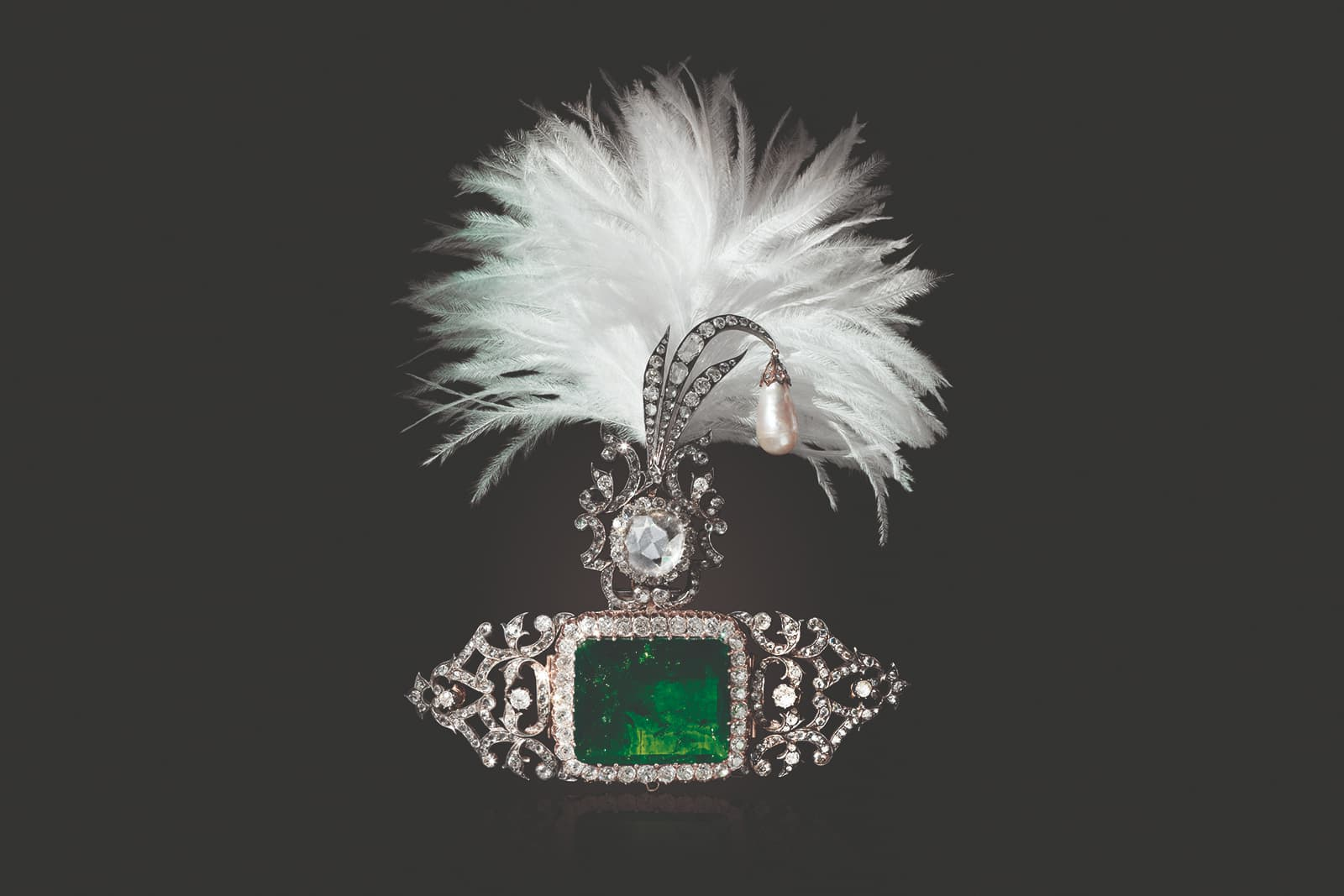 Christie's 'Maharajas & Mughal Magnificence' sarpech adapted by Cartier, with emerald, pearl and diamonds