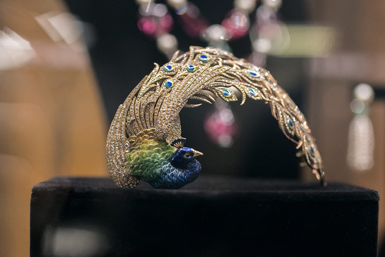 Christie's 'Maharajas & Mughal Magnificence' Mellerio dits Meller peacock aigrette with diamonds in enamel and gold, commissioned by the Maharaja of Kapurthala in 1905