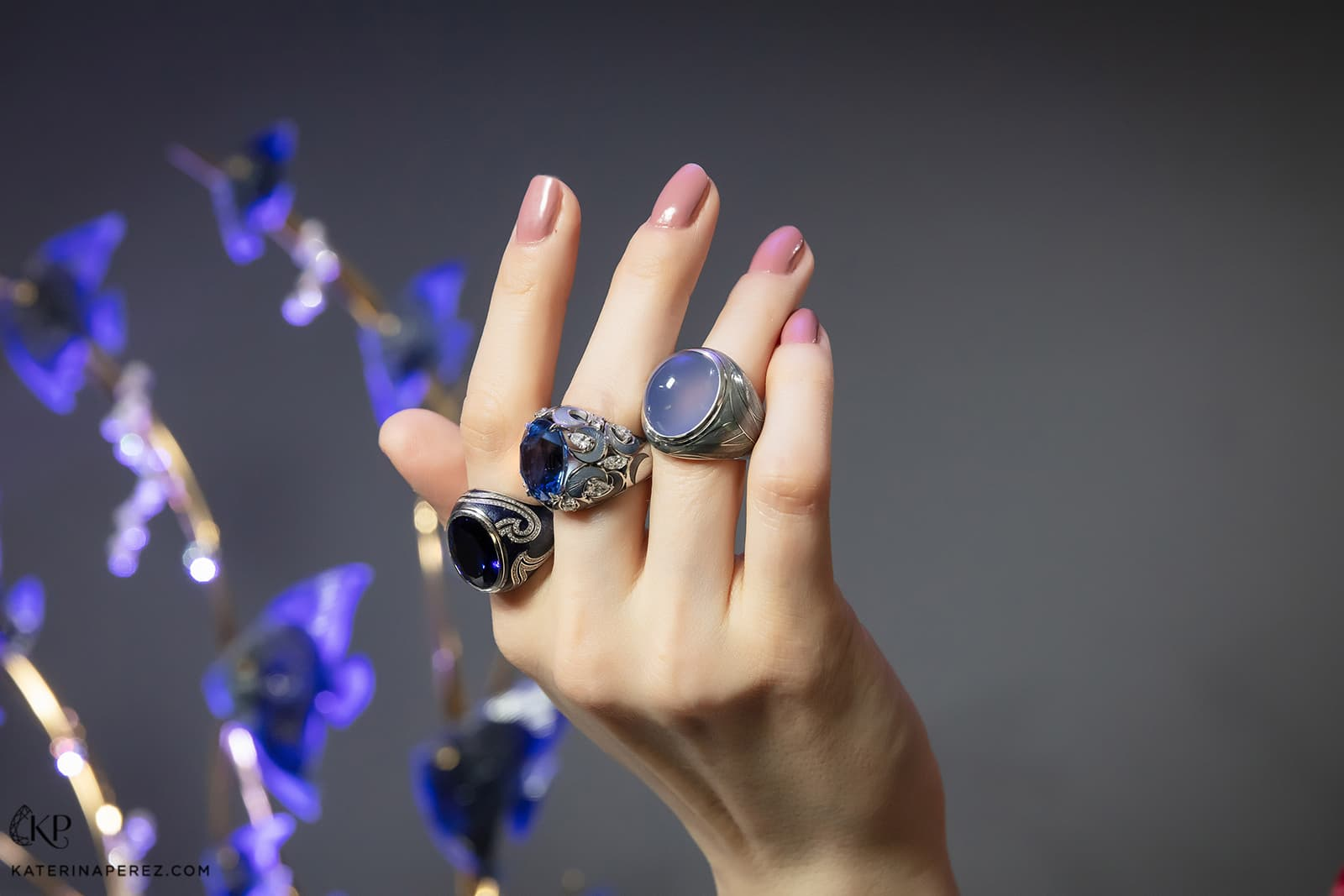 Henn of London cocktail rings with precious gemstones, diamonds and enamel in 18k white gold