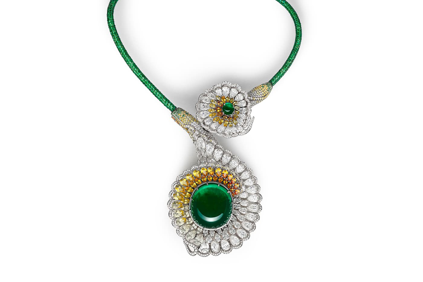 Chopard Red Carpet 2019 collection 'Divine Necklace' open ended choker with 111ct cabochon emerald, yellow and colourless diamonds, sapphires and tsavorites
