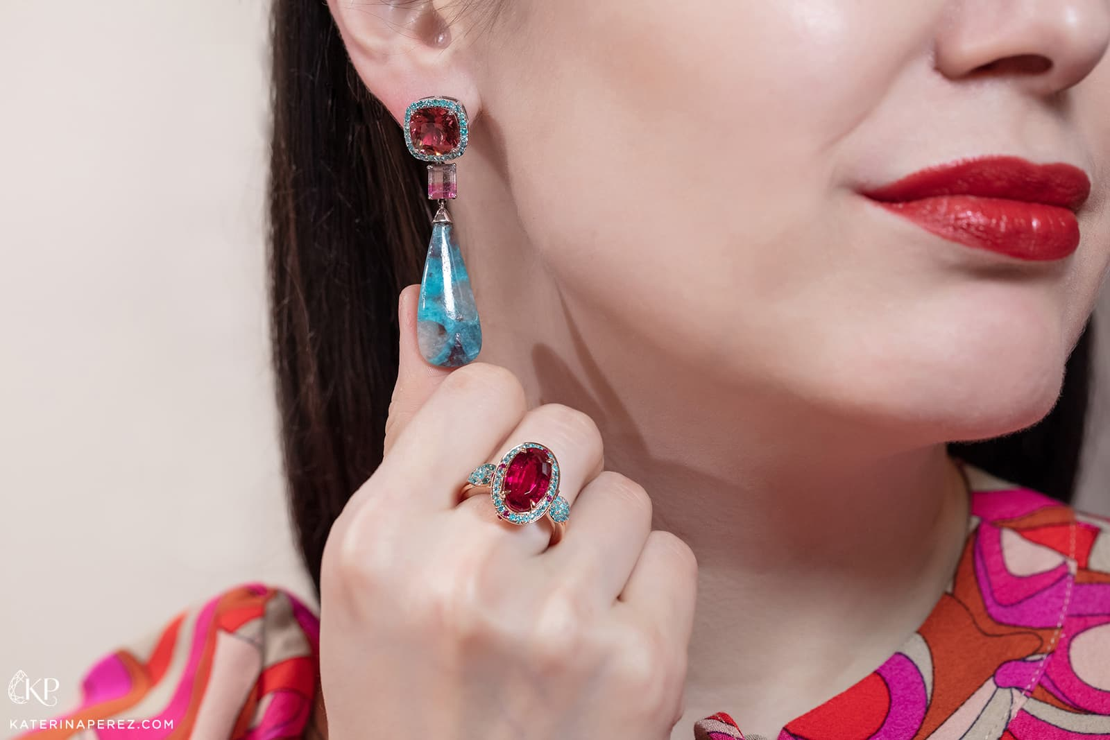 Graziela Gems earrings with 24.30ct Paraiba tourmaline, watermelon tourmaline and rubellite, and ring with 5.60ct rubellite and 0.65ct Paraiba tourmaline in yellow gold