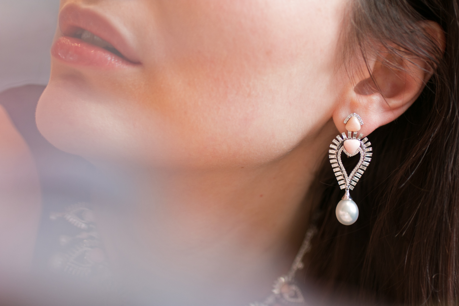 Sarah Ho conch pearl, South Sea pearl and diamond earrings