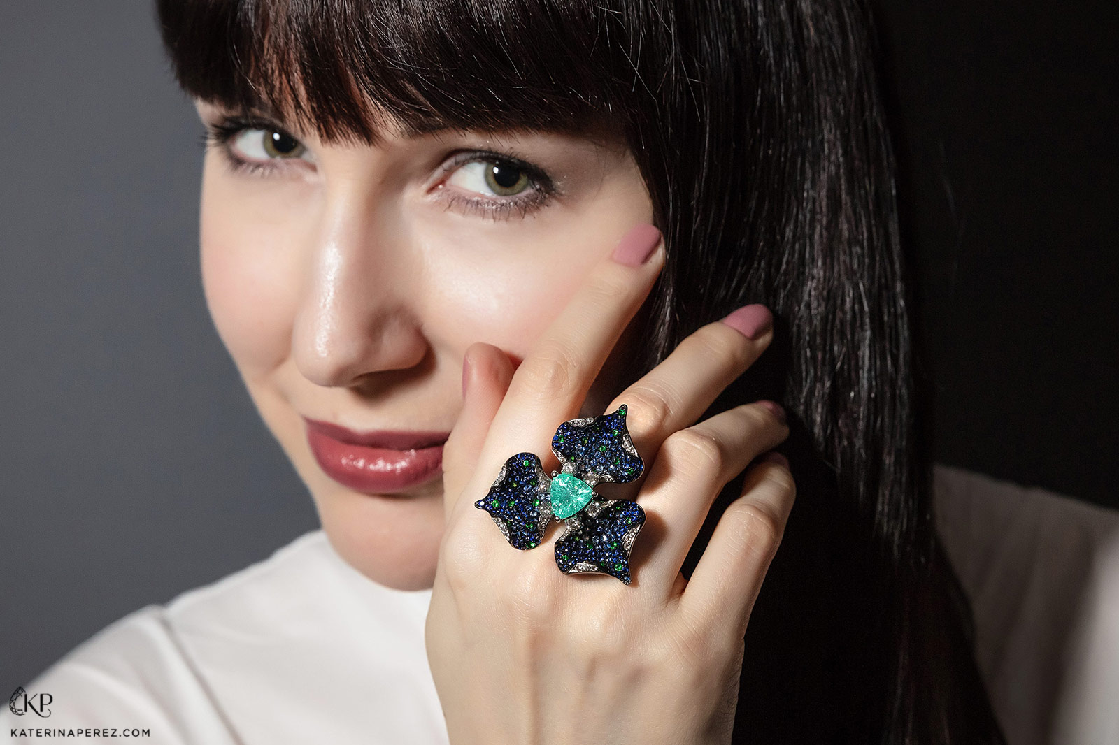 Alexander Laut 'Blue Lily' ring with 5ct Paraiba type tourmaline, sapphires, tsavorites, and diamonds
