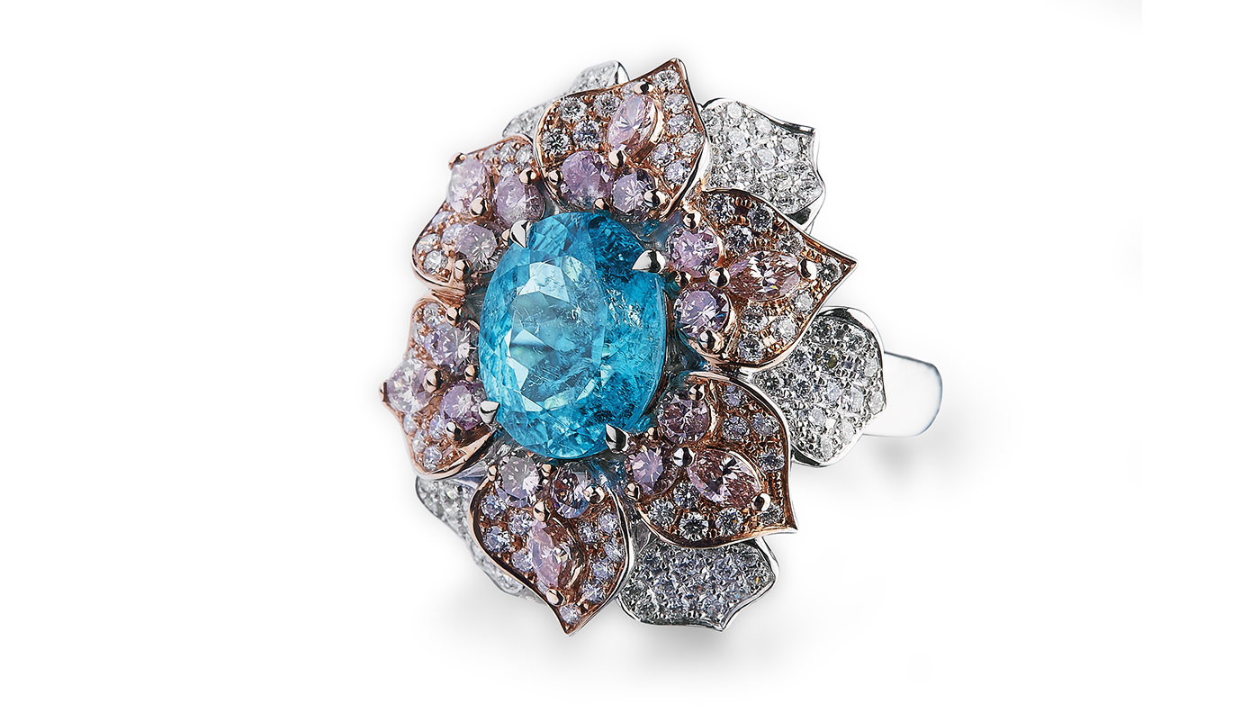 Alexander Laut 'Chrisontem' ring with 7ct Paraiba tourmaline, pink and colourless diamonds