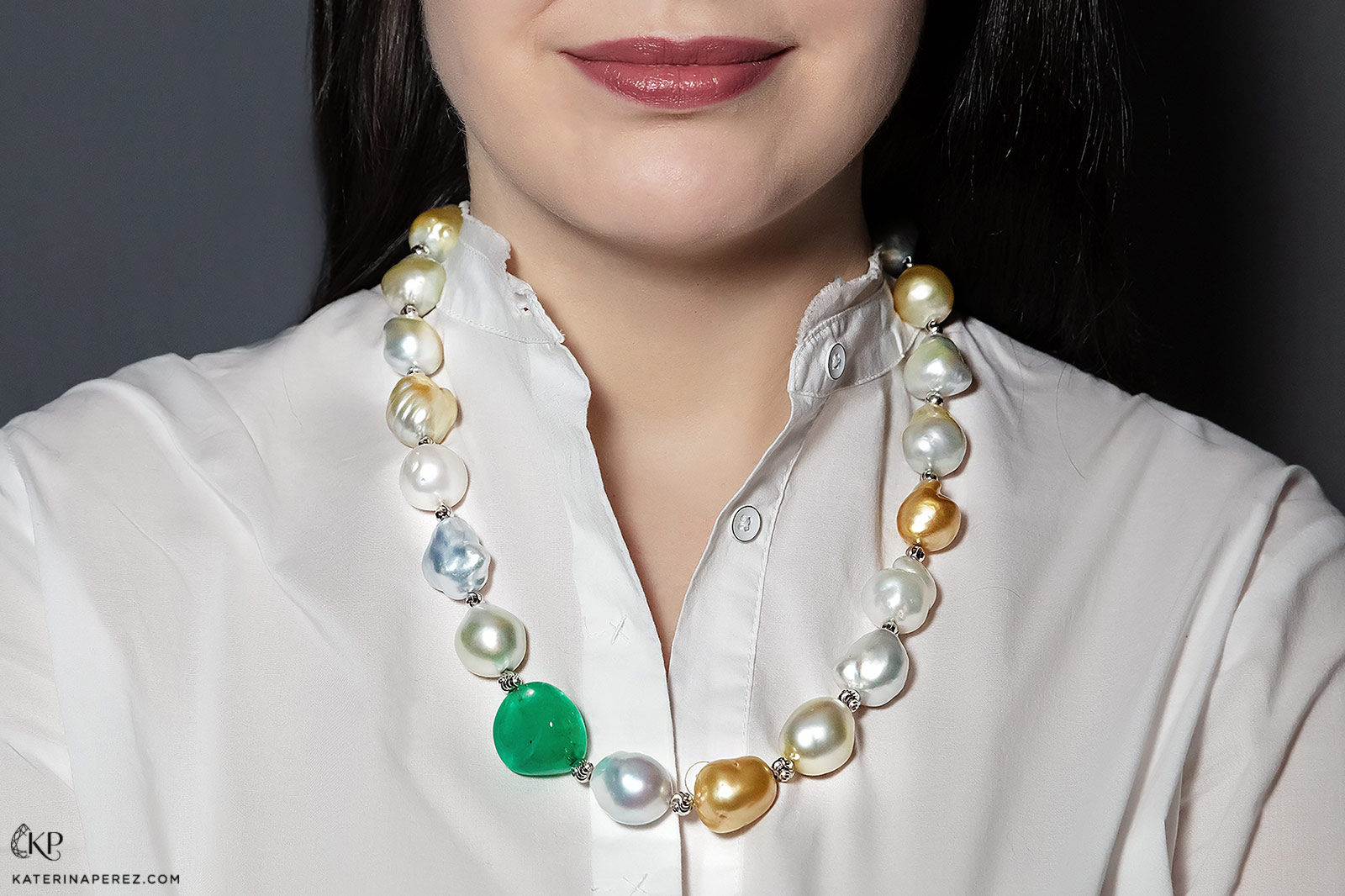 Alexander Laut necklace with 56ct Colombian emerald and South Sea pearls