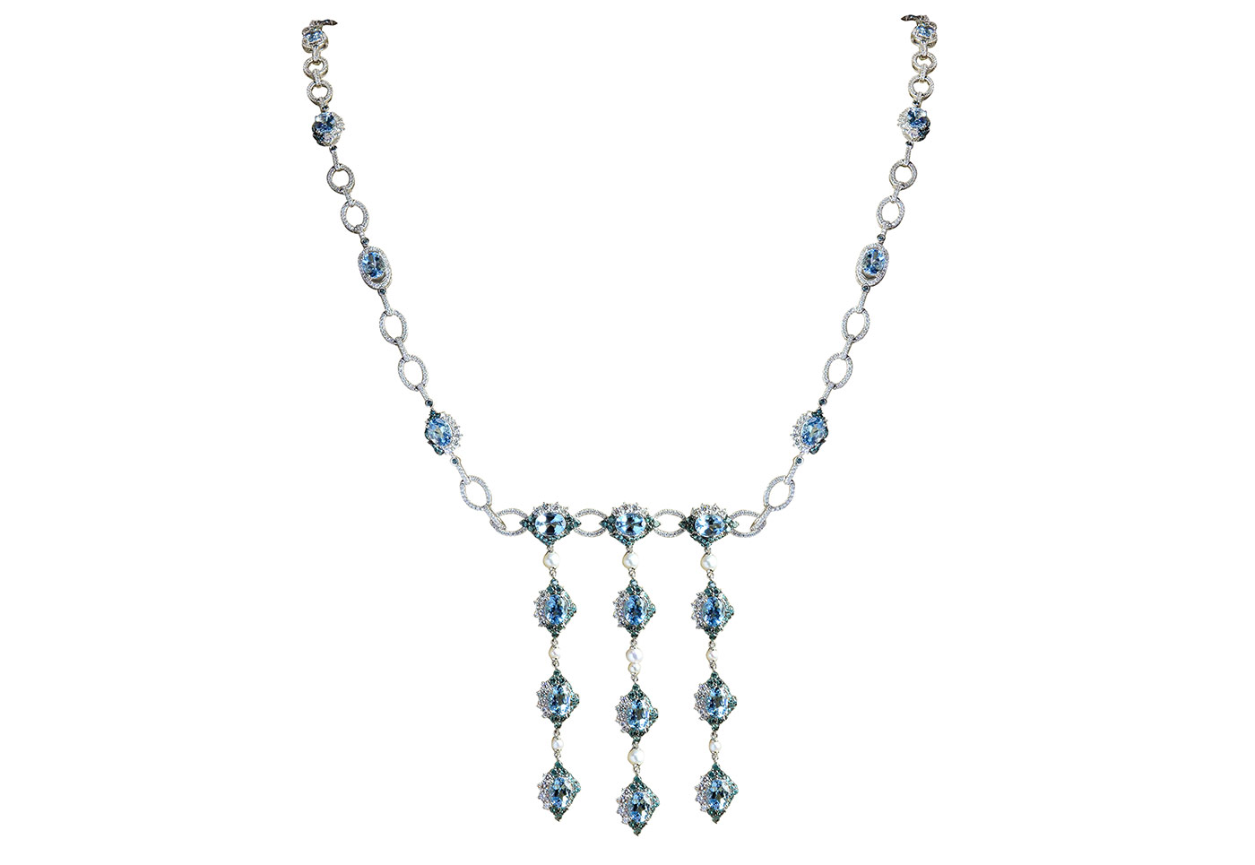 Sunita Nahata 'Blue Planet' necklace with Santa Maria aquamarines, Alexandrites, pearls and diamonds in white gold