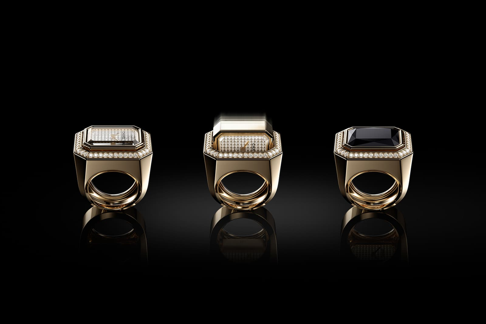 Chanel 'Premiere' collection 'Midnight in Vendome' watch ring with onyx and 1.06ct diamonds in 18k yellow gold
